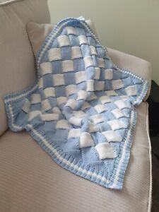 Stunning Hand Knitted Baby Blanket, Blue & White, Boy, Cot, Pram, Buggy