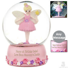 PERSONALISED Fairy Princess Snow Globe Ornament. PINK Gift For GIRLS. Birthday