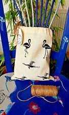 NEW 100% Cotton Stuff-Bag - Hand Printed on both sides - Flamingos & Umbrellas