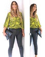 Asos Snakeskin Print Lime Yellow Bodysuit Blouse Thong Rushed Long Sleeves 16