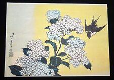 "Japanese Woodblock Print Reproduction ""Hydrangea & Swallow"" by Hokusai (Mod)"