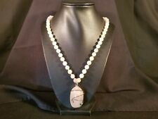 """Rose Quartz Pendant Bead Necklace 21"""""""