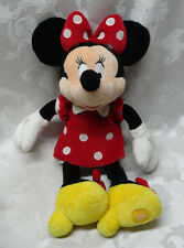 "Minnie Mouse Disney Store Plush 18"" Red Polka Dot Dress Yellow Shoes Slippers"