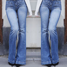 Womens Denim High Waisted Trousers Jeggings Stretch Slim Fit Flares Pants Jeans