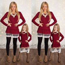 Mother And Daughter Matched Long Sleeve Dress Womens Girls Kids Lace Mini Dress