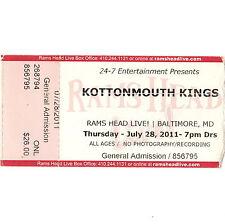 Kottonmouth Kings Concert Ticket Stub Baltimore Md 7/28/11 Rams Head Live Rare