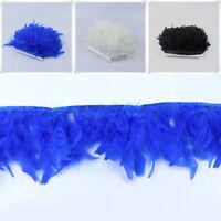 1 Yard Ostrich Feather Fringe Trim Embellishment for Bag Clothing Decoration G9S