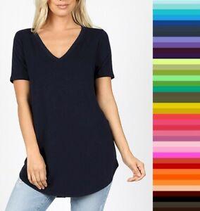 Womens Zenana Relaxed Fit V Neck TShirt Short Sleeve Rayon Plus Size 1X 2X 3X