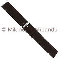 20mm Di Modell Stitched Fine Calfskin Brown Genuine Leather Mens Watch Band