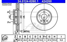 ATE Juego de 2 discos freno 307mm ventilado 24.0124-0260.1