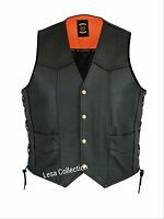 Leather Motorcycle Biker Style Waistcoat Vest Black Side Laced up Vest nw28