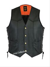 Leather Motorcycle Biker Style Waistcoat Vest Black Side Laced up Vest