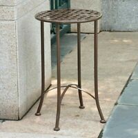 Pemberly Row Iron Patio Side Table in Matte Brown