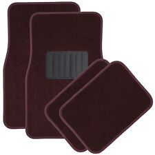 Car Floor Mats for Auto 4pc Carpet Semi Custom Fit Heavy Duty w/Heel Pad Red