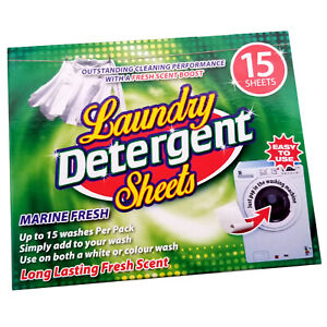 15 Laundry Detergent Sheets Marine Fresh Scent Colour or White Easy Cleaning UK