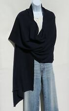 100% Cashmere Shawl/Wrap Hand Loomed Nepal Solid Navy Blue 4 Ply Herringbone