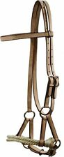 Lt Leather Side Pull Double Rope Nose Hack Horse Training Aid Great 4 Breaking