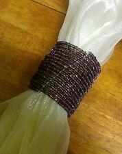 New Set of 6 Purple Plum Beaded Napkin Rings in Matching Drawstring Organza Bag
