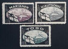 c. 1921 German lot of 3 Lost Colonies Mourning Cinderellas Mint