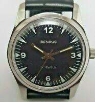 Swiss Benrus Super Watch Mint-Black-Dial Coroco-Smoot Strap Still Bcull 17jewels