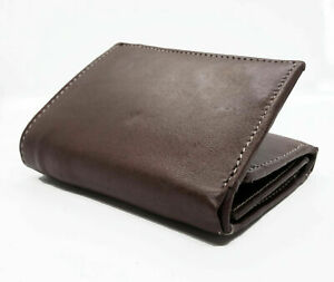 Brown RFID Blocking Premium Handcrafted Cowhide Leather Men's Trifold Wallet