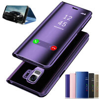 For Samsung Note 9/S9+/A8+ 2018 Smart View Mirror Flip Stand Leather Case Cover