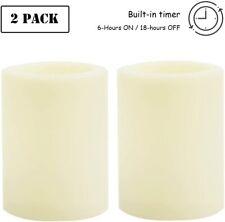 "2 PCS Flameless LED Pillar Candles Waterproof Outdoor Battery Candle Set 4""(H)"