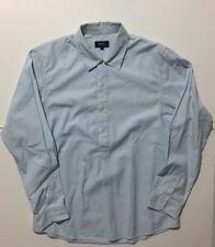 APC Blue Candy Stripe Quarter Button Placket Pullover Shirt