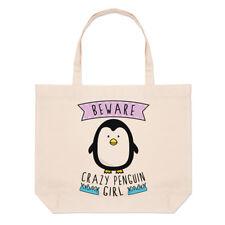Tenga cuidado con Crazy Pingüino Niña Bolso Playa Grande-animales graciosos