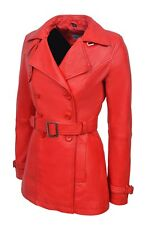 Ladies Trench Leather Jacket Red Real Italian Nappa Leather Casual Style Design