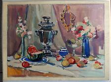 Original Russian USSR Social Realism Soviet Gouache Painting Still-Life 1968