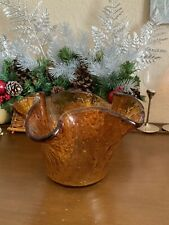 HANDMADE Amber Bubbled Formed Ribbled Decorative Table Glass Bowl Art Gift