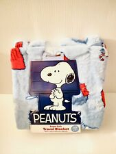 "New Peanuts Snoopy Super Soft Light Blue Travel Blanket Throw 45"" x 55"""