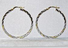 9CT YELLOW & WHITE GOLD 35mm LADIES TWIST CREOLE HOOP EARRINGS