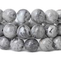 Natural Gemstone Beads Gray Silk Jasper Stone Beads Round 4mm 6mm 8mm 10mm 12mm