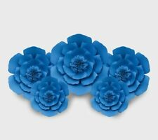 Decor In The Box 5 Piece Handmade Paper Flower Set Fully Assembled -Celest Blue