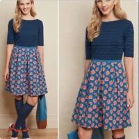 Matilda Jane Peyton Dress Size M Floral Rose Stripe Fit Flare Pockets Teal 306