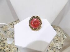 STUDIO BARSE BRONZE AND RED SPONGE CORAL RING SZ 6