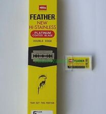 100 Blade FEATHER Yellow Box Platinum Coated Double Edge Razor Blade From Japan