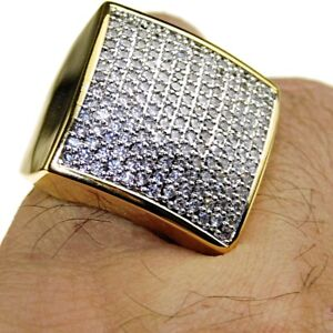 Mens Huge Hip Hop Ring 24MM Square 2-Tone Micro Pave Gold Finish CZ Iced SZ 7-12