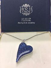 Cremation memorial ashes tilted heart pendent in sterling silver customised