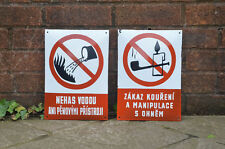 Vintage enamel signs old metal warning forbidden signs old industrial signs x2