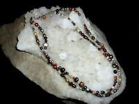 2 STRAND GRADUATED MULTI COLOR FRESHWATER PEARL AND STERLING SILVER NECKLACE