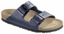 Birkenstock sandalia arizona azul cuero liso estrecho unisex