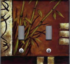 ASIAN BAMBOO - ASIAN HOME WALL DECOR DOUBLE LIGHT SWITCH PLATE