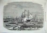 Antique Old Print 1863 Liverpool River Mersey H. M. S Majestic Ship Salute 19th