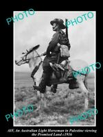 OLD POSTCARD SIZE PHOTO OF AIF ANZAC THE AUST LIGHT HORSE IN PALESTINE c1916