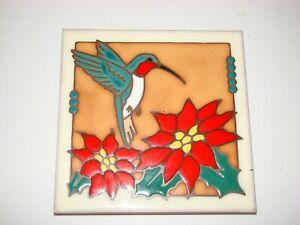 Beautiful Masterworks Ceramic Art Tile Hummingbird Bird Trivet USA