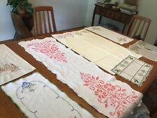 vintage needlework, embroidered linens, pillowcase, dresser scarves ,lot of 8