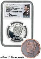 2pc 2019 1 oz Silver Gaudens Last Cent Medal NGC PF69 UC Mercanti+Bonus SKU58217